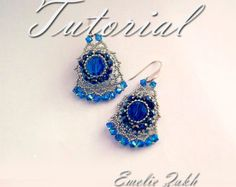Beading tutorial. beaded earrings. ! Tutorial instructions earrings,beaded jewelry tutorial.Crystal earrings tutorial.Beadwork tutorial. by emeliebeads. Explore more products on http://emeliebeads.etsy.com