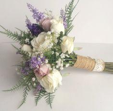 silk bridal bouquet wild meadow flowers roses lavender