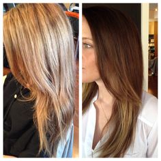 Before and after Blonde to Brunette Ombré by me