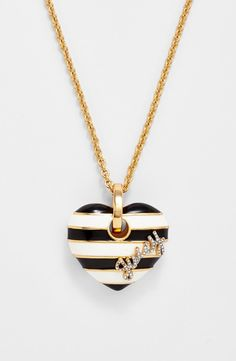 Juicy Couture 'Jewelry Box Treasures' Stripe Heart Pendant Necklace   Nordstrom