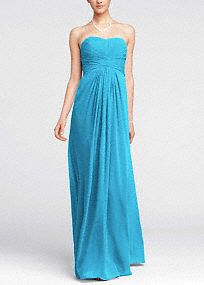 $149 Long Strapless Chiffon Dress with Pleated Bodice Colors: Petal, Ballet, Champagne (will have to see this color in person)