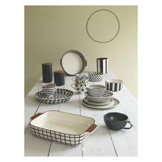 ELLIOT Black and white striped utensil jar H18cm | Buy now at Habitat UK