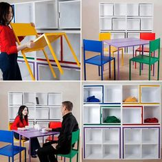 Table and Chairs Fit on The Shelf by Orla Reynolds We love smart storage solutions, and this bookcase by Orla Reynolds definitely fits the bill. Many of us like to have table and chairs in [. Space Saving Furniture, Cool Furniture, Furniture Design, Furniture Ideas, Furniture Storage, Table Furniture, Furniture Layout, Colorful Furniture, Repurposed Furniture