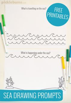 Sea drawing prompts - free printable! Many more to choose from as well, great for the imagination!!