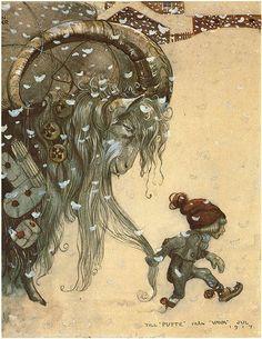 JULBOCKEN OCH LILLE PUTTE av JOHN BAUER Jul Julen 1917 Lyxigt A2 tryck