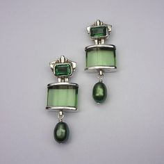 Obsidian and Green Quartz post earrings with Pearls by niskala on Artfire