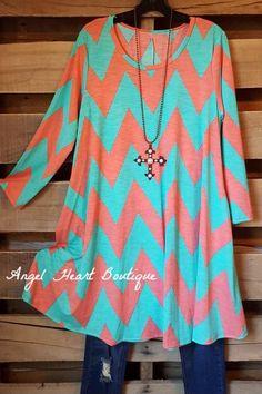 The Chevron Dress - Mint - 2N1 Apparel - Tunic - Angel Heart Boutique