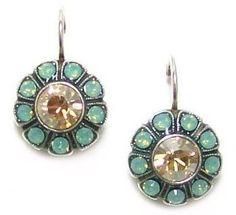 Mariana Sea Breeze Antique Silver Plated Swarovski Crystal Flower Earrings Dangle Jewelry