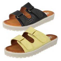 LADIES DOWN TO EARTH VELCRO SANDALS IN BLACK OR LEMON - STYLE - F10327