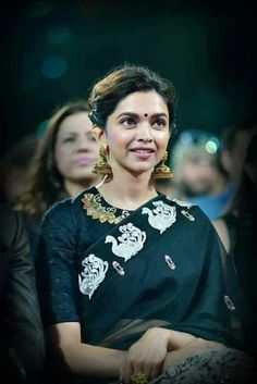The great bollywood diva, Deepika Padukone is often seen wearing sarees during her public appearance. We love her in sarees, and often wait for her desi avatar. Indian Celebrities, Bollywood Celebrities, Bollywood Fashion, Saree Fashion, Bollywood Actors, Women's Fashion, Anarkali, Churidar, Lehenga