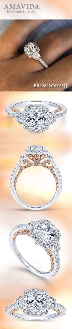 Gabriel & Co. - Voted #1 Most Preferred Bridal Brand. 18k White/Pink Gold Cushion Cut Three (3) Stones Halo Engagement Ring.