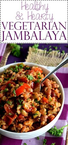 Healthy and Hearty Vegetarian Jambalaya - Lord Byron's KitchenYou can find Vegetarian crockpot recipes and more on our website.Healthy and Hearty Vegetarian Jambalaya -. Jambalaya Crockpot, Vegetarian Jambalaya, Vegetarian Crockpot Recipes, Vegetarian Recipes Dinner, Veggie Recipes, Cooking Recipes, Healthy Recipes, Vegetarian Dishes Healthy, Vegetarian Recipes