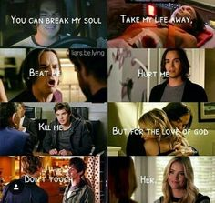 *cries* I love Haleb 😭💞 Pll Quotes, Pll Memes, Prety Little Liars, Pretty Little Liars Quotes, Pretty Little Liars Characters, A Pll, Best Tv Couples, Janel Parrish, Grey Anatomy Quotes