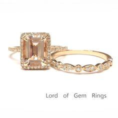 $759 Emerald Morganite Engagement Ring Sets Pave Diamond Wedding 14K Rose Gold 7x9mm, Art Decos Band