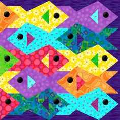 Tessellating Fish Paper Pieced Quilt