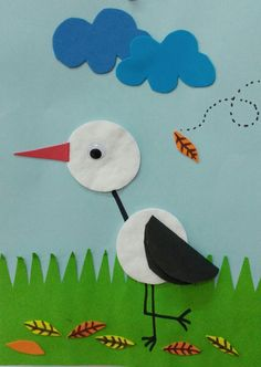 Sonbahar geldi leylekler uçtu :) Craft Work For Kids, Hand Crafts For Kids, Animal Crafts For Kids, Toddler Crafts, Preschool Crafts, Art For Kids, Diy And Crafts, Duck Crafts, Bird Crafts