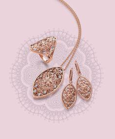 Viventy Jewels | Retro Flowers |Ring, collier and earrings |Sormus, kaulakoru ja korvakorut | www.diamo.fi