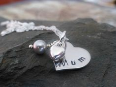 Hand stamped necklace for Mum heart necklace by lauriebale on Etsy, £10.00