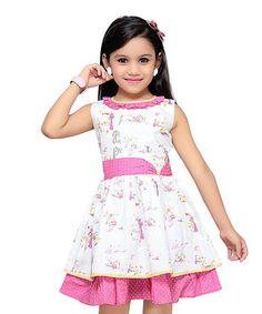 Look at this #zulilyfind! Pink Polka Dot & Floral Sleeveless Dress - Toddler & Girls #zulilyfinds