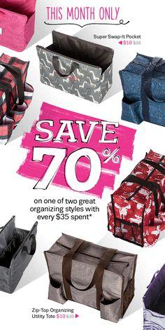 Thirty-One Gifts – Save 70%! #ThirtyOneGifts #ThirtyOne #Monogramming #Organization #September2017Special #SaveBig #SuperSwapItPocket #ZipTopOrganizingUtilityTote