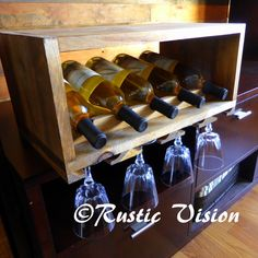 Wine Bottle Rack Glass Rack Wood Shelf Mini Bar por RusticVision