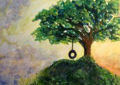 Original Acrylic Painting on Canvas Board - Tire Swing On Tree | SpiritEssenceArt - Painting on ArtFire