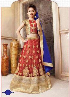 Girl's Red Net Fabric Designer Lehenga Choli Shopping ,Indian Dresses
