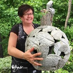 DIY Gigantic Concrete Leaf Orb - Made By Barb - lightweight Garden Sphere Check . - Garden Online DIY Gigantic Concrete Leaf Orb – Made By Barb – lightweight Garden Sphere Check more at gardenideas.