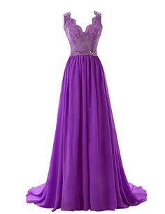 Diyouth A-Line Floor Length V-Neck Lace Prom Dress Backless Train Purple Size 18W Diyouth http://www.amazon.com/dp/B00QSYAKWA/ref=cm_sw_r_pi_dp_8lPOvb038PPBD