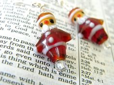 Santa Claus Glass Lampwork Earrings Dangle Earrings Christmas