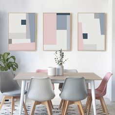 Abstract Squares Geometric Posters Pink Blue Grey Modern Nordic Fine Art Canvas Prints Paintings For Bedroom Living Room Modern Home Decor Geometric Poster, Geometric Painting, Abstract Wall Art, Living Room Pictures, Wall Art Pictures, Living Room Grey, Living Room Modern, Art Pour Salon, Pink Painting