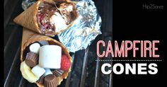 Campfire Cones Fun Easy Summer Dessert-Gooey marshmallow-filled campfire cones are a fun twist to a traditional S'more and can be customized with endless possibilities! Easy Summer Desserts, Summer Treats, Summer Recipes, Simple Recipes, Campfire Breakfast, Campfire Food, Köstliche Desserts, Delicious Desserts, Dessert Recipes