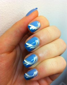i like the idea but with white tips, natural nail color, and royal blue lines