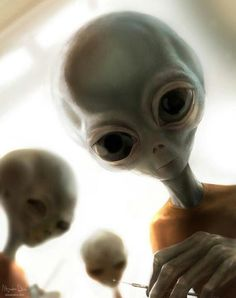 Aliens. How would you like to wake up to this sight? I wonder where he bought his T-shirt.