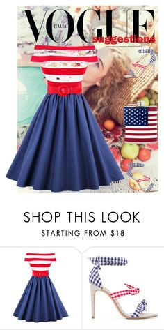"""""""Celebrating That Good Ol' Red White Blue"""" by angelofwinter776 ❤ liked on Polyvore featuring Alexandre Birman"""