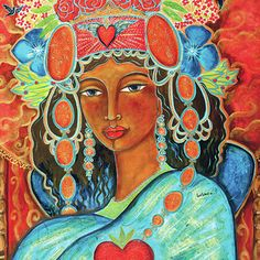 Queen Of Her Own Heart Painting by Shiloh Sophia McCloud - Queen Of Her Own Heart Fine Art Prints and Posters for Sale African Goddess, Heart Painting, Mystique, Shiloh, Sacred Art, Heart Art, Our Lady, African Art, Black Art