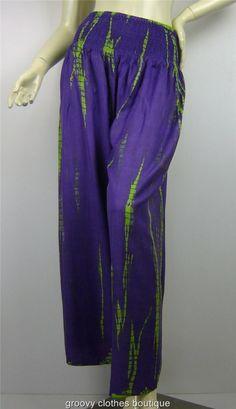 Two Colour Tie Dye Cotton Wide Leg Hippie FESTIVAL Pants Size 8 - 16 Au