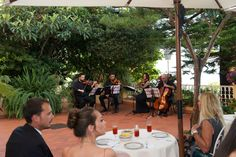 enjoying music after  wedding in Italy on the lovely terrace at Villa Cheta overlooking the Coast of Maratea