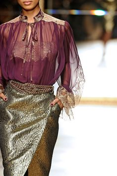 A wealthy women from. Volantis wearing sheer purple silk and cloth of gold, Salvatore Ferragamo RTW F/W 2012
