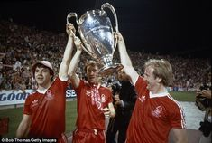 John Robertson, Ian Bowyer and Kenny Burns (left-right) lift the 1979 European Cup with Nottingham Forest