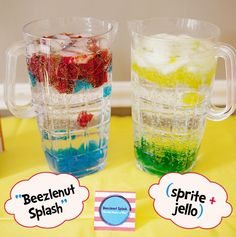 Beezlenut splash (inspired by Ihop's Horton Hears a Who special edition menu. Sprite, ice and colored jello).