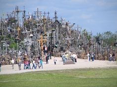 Hill of Crosses, northern Lithuania - Standing on a small hill are many hundreds of thousands of crosses that represent Christian devotion and a memorial to Lithuanian national identity. It has been estimated that there are over 100,000 crosses on the hill. There are also iant crucifixes, carvins of Lithuanian patriots, statues of the Virgin Mary and thousands of tiny effigies and rosaries.