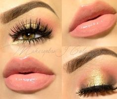 Gold sparkle...nude lipstick