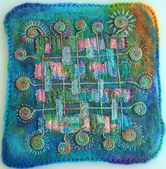 I like the colors and designs. Felted wool - Applied Silk - Embellisher Braids - Hand Embroidery by Cecile Meraglia Art Fibres Textiles, Textile Fiber Art, Textile Artists, Fabric Art, Fabric Crafts, Felt Pillow, Creative Textiles, Thread Painting, Wet Felting