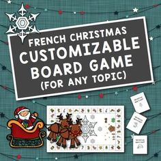 French Christmas Customizable Board Game for Any Topic French Christmas, 1st Christmas, Little Christmas, Christmas Gifts, Christmas Board Games, Christmas Activities, French Teaching Resources, Teaching French, High School French