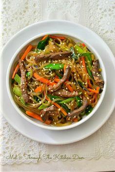 Through The Kitchen Door: Japchae With Beef Bulgogi (Korean stir fried beef noodles with vegetables)