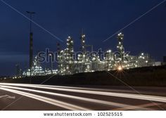 stock photo : Oil refinery at dusk