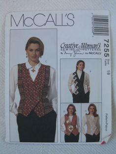 Womens Vest Pattern MCCALLS 7255 Size 18 Uncut NANCY ZIEMAN Creative Woman  $5.99