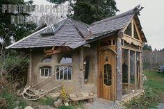 Cob house , Sooke , Vancouver Island , BC , Canada stock photo