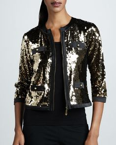 Sequined Jacket & Solid Knit Shell, Women\'s  by Michael Simon at Neiman Marcus.